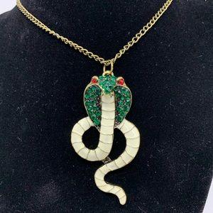 Rhinestone Cobra Snake Necklace Chain